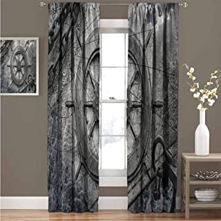 """EDZEL Bedroom Blackout Curtains, Sliding Curtain, Ships Wheel Decor, Vintage Navigation Equipment Illustration with Steering Wheel Charts Anchor Chains, 120""""x84"""", Charcoal"""