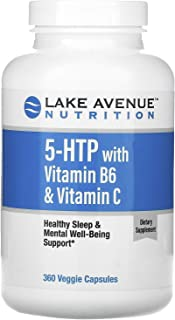 Lake Avenue Nutrition 5-HTP with Vitamin B6 & Vitamin C, 360 Veggie Capsules