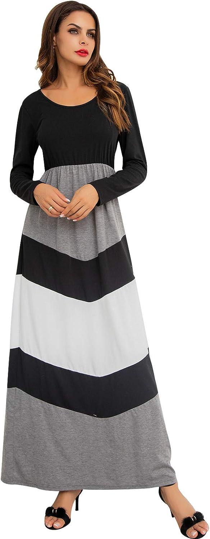 GIKING Women Striped Elastic Long Sleeve Tunic Vintage Casual Maxi Dress Pockets