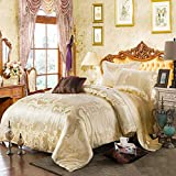 JBHURF Luxury silk duvet set 19MM heavy jacquard silk four-piece set 100 silkworm silk satin fabric bedding wedding quilt cover bedding bed linen home textile four seasons large king-size bed sheet