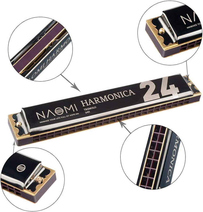 Muslady Tremolo Harmonica 24 Holes Key of C Stainless Steel Mouth Organ Harmonica with Case Wind Instrument Black