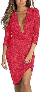 Limsea Women Mini Dress 2019 Sexy Deep V Neck Solid 3/4 Sleeve Slim Skinny V-Neck Sequin Ankle-Length