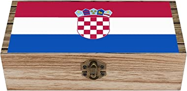 Croatian Flag Storage box wooden daily necessities business card souvenir jewelry retro