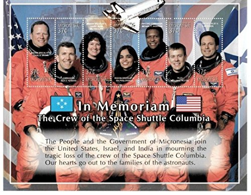 Space - Columbia Space Shuttle - in Memorium - Rare Collectors Stamp Sheet - Micronesia