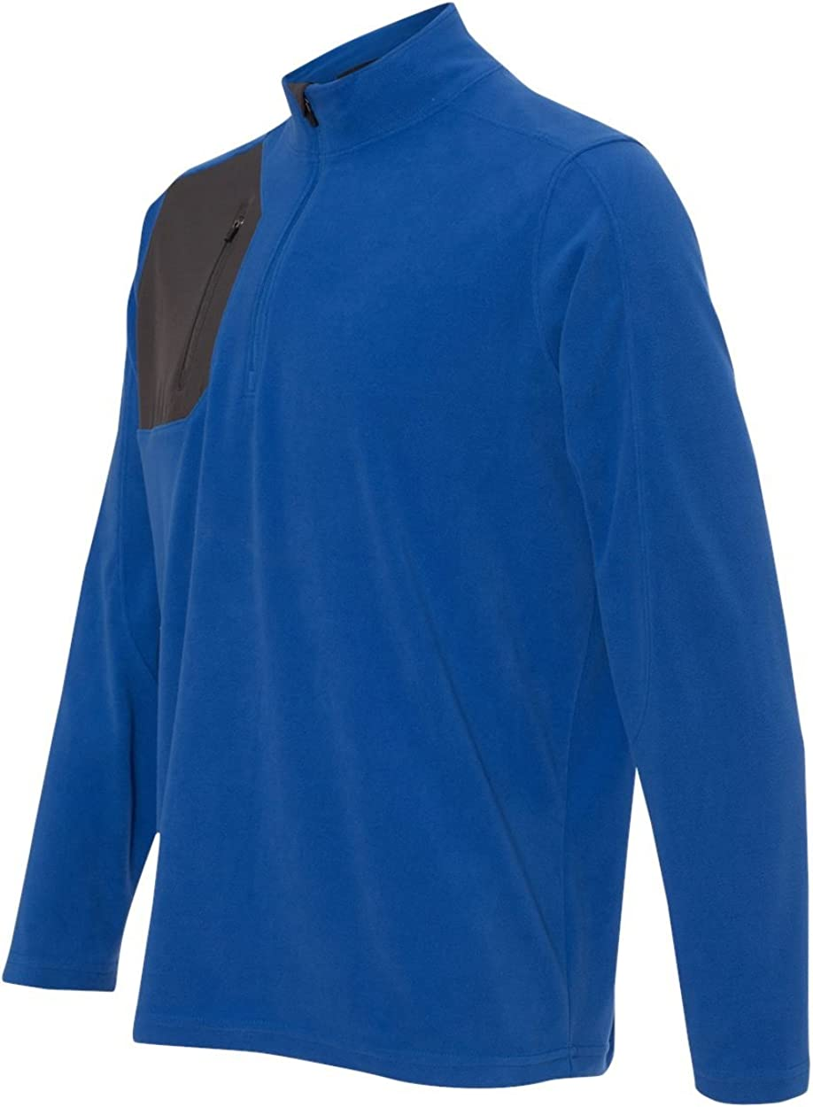 DRI Duck Men's 7345 Interval DDX Quarter-Zip Nano Fleece Nylon Pullover Jacket (Large, Tech Blue/Charcoal)
