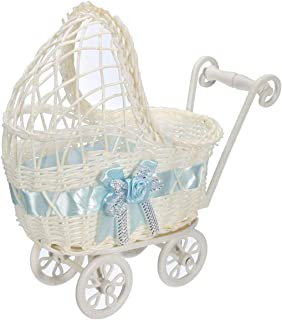 Wicker Baby Girl Carriage Collection, Kinderwagen Weidenkorb Korb Lagerung Mit Griffen Räder blau Farbe : Blau