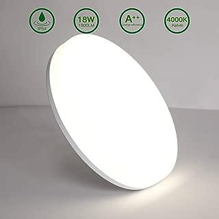 Aogled LED Lámpara de Techo 18W 1800LM 4000K Blanco Natural Plafón de Techo Redondo 22 cm,No-Regulable Luz de Techo Permeable IP54,180 Ángulo LED Plafón Para Dormitorio Baño Cocina Pasillo Comedor