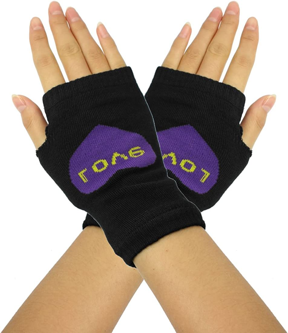 Allegra K Ladies Purple Heart Print Fingerless Mitten Knit Elastic Gloves Pair Black