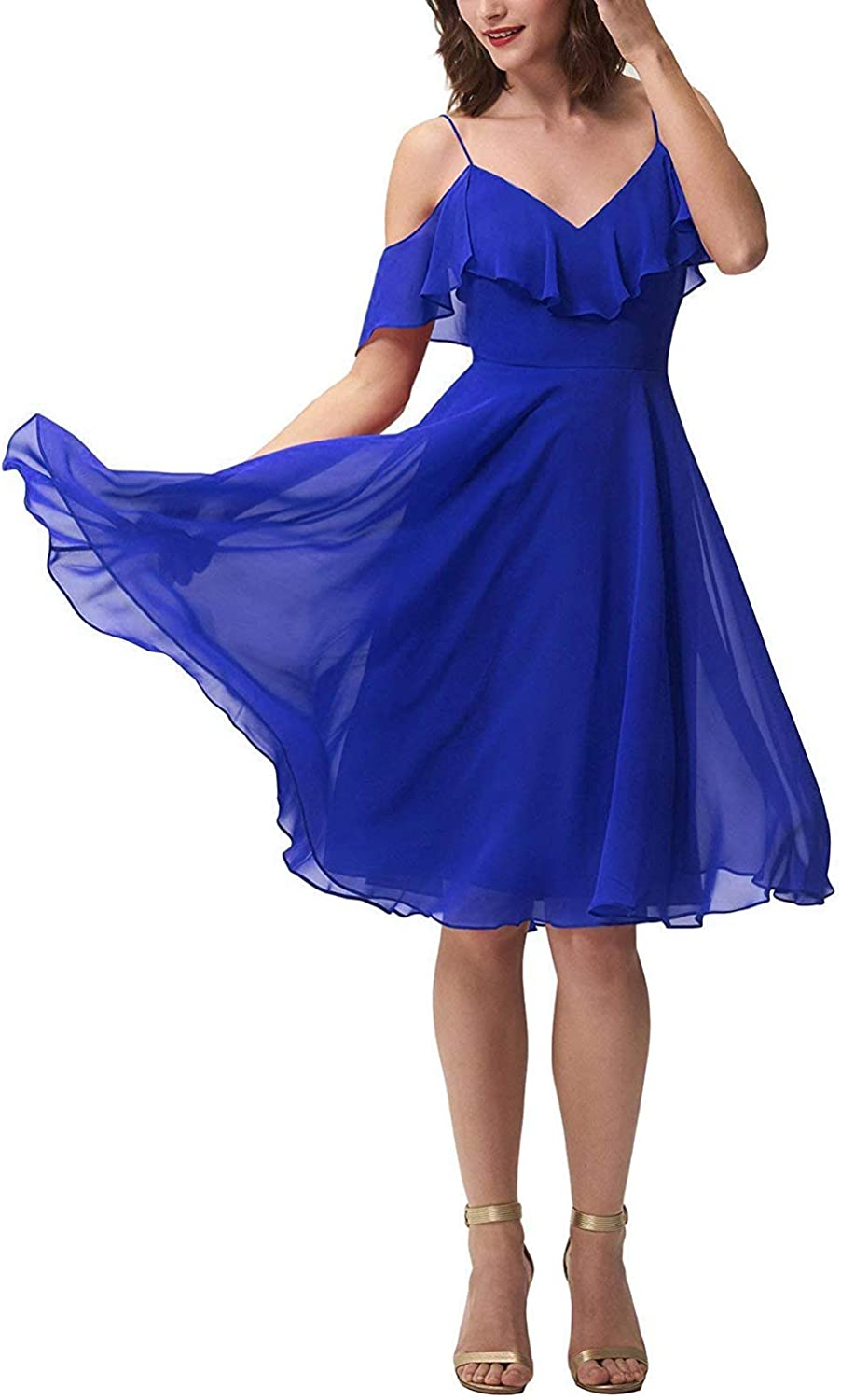 DressyMe Women's Short Bridesmaid Dress Off The Shoulder Flounce Homecoming Gown