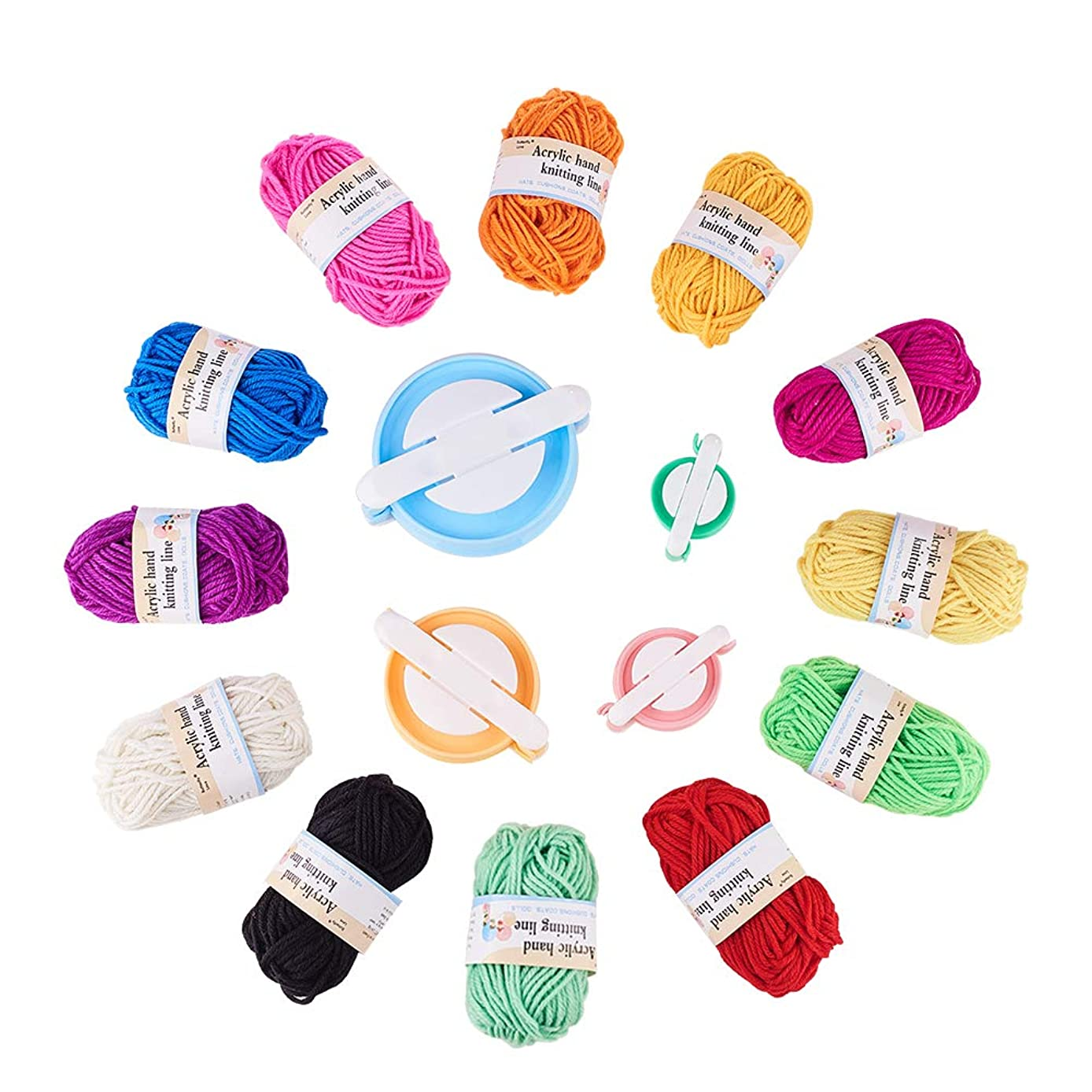 PH PandaHall 4 pcs 4 Sizes Plastic Pompom Pom pom Maker with 12 Bundles 12 Colors 22M/Bundle 2mm Fiber Yarn for Fluff Ball Weaver Needle Craft DIY Knitting