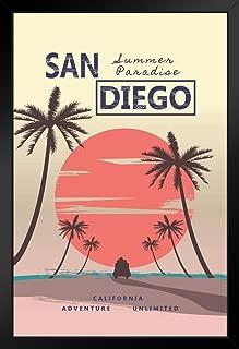 San Diego California Summer Paradise Retro Travel Black Wood Framed Art Poster 14x20
