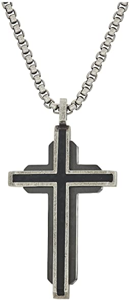 Steve Madden - Gunmetal Cross Necklace with 18