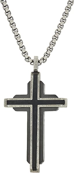 "Steve Madden Gunmetal Cross Necklace with 18"" Box Chain"