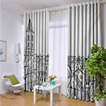 Andrea Sam Fashions Drape Cityscape,Sketch Style Rooftop View of City Residential Area Urban Lifestyle Monochromic,Black White,W84 xL96 Silver Grommet Top Drape