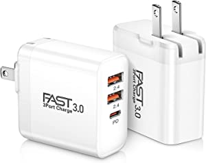 USB C Charger 2-Pack, iSeekerKit 30W 3-Ports Fast Type C Wall Charger with PD 3.0 + 5V/2.4A Foldable USB Block Plug Compatible for iPhone 12/ Mini/Pro Max/11/11 Pro Max/Samsung Galaxy/Pixel-White