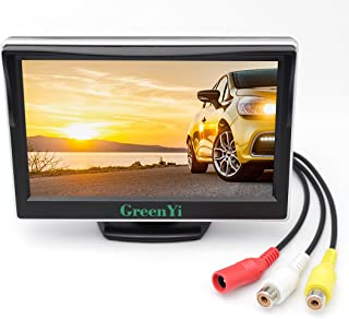 GreenYi Vehicle On-Dash Backup Monitor, 5 Digital HD Car TFT LCD Color Screen Display with 2 Video Input for Rear View Camera