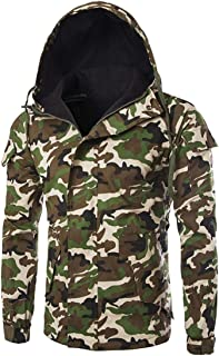 Men's Tactical Softshell Fleece Jacket Camouflage Military Hoodie Outdoor Hiking Camping Warm Inner Lining Windproof Water...