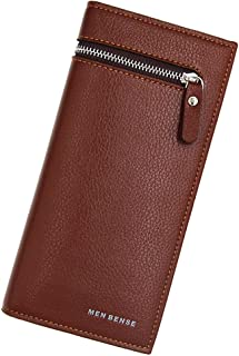 BeniNew men's wallet long big capacity multi-function zipper wallet-Litchi light brown