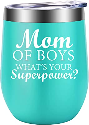 Funny Mothers Day Gifts for Wife, Boy Mom - Mom of Boys - Boy Mom Gifts - Best Mom Birthday, Mother's Day Gifts for Any Mom of Boys, Mother of Boys, Boy Mama - LEADO Boy Mom Wine Tumbler Cup with Lid