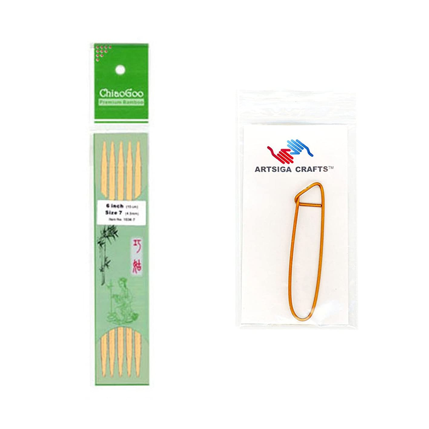 ChiaoGoo Double Point 5-inch (13cm) Bamboo Natural Knitting Needle; Size US 4 (3.5mm) Bundle with 1 Artsiga Crafts Stitch Holder 1015-4 spdzxcgwjip568