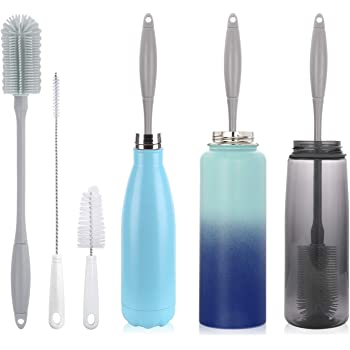 """14"""" Silicone Bottle Brush - Cleaning Set for Sports Water Bottle, Baby Bottles, Tumbler, Drinking Glasses, Vase, Bottle Cleaner Compatible with Thermos Hydro Flask Contigo S'well Simple Modern, etc."""