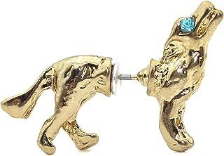Wolf Earring-Glowing Blue Eyes Wolf Stud Earring for Men,Cubic Zirconia Wolf Pierced Earring,Norse Jewelry Punk Style Earr...