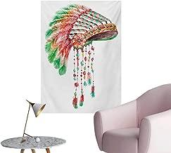 Anzhutwelve Feather Art Decor Decals Stickers Tribal Chief Costume Headdress Native American Culture Ethnicity SymbolVermilion Orange Green W24 xL32 Space Poster