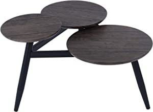 FurnitureR Architectural Coffee Table with Three Multi Round Nesting Side End Table for Living Room