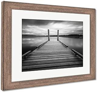 Ashley Framed Prints Comox Lake Vancouver Island, Wall Art Home Decoration, Black/White, 26x30 (Frame Size), Rustic Barn Wood Frame, AG5988163