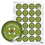48 Stück kleine runde grün rote HANDMADE BUT WITH LOVE Knopf Optik Aufkleber selbstklebende...