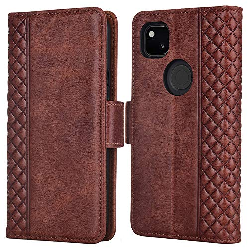 TIANNIUKE Pixel 4A Case, Pixel 4A Wallet Case, Genuine Leather Magnetic Cover Kickstand RFID Blocking Card Slot with TPU Shockproof Protective Cover Compatible with Google Pixel 4A 5.81