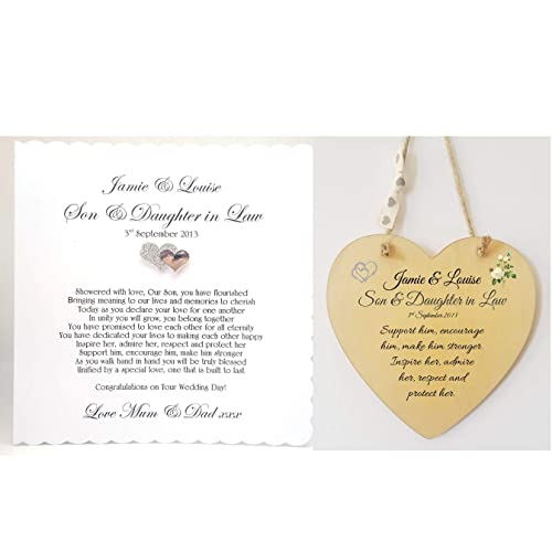 Personalised Son and Daughter In Law Wedding Poem Card and Heart Plaque Gift. Bride,