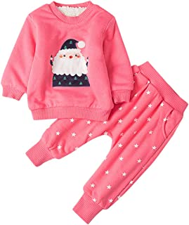 Girl Baby Long Sleeve Solid Color Thick Cartoon Santa Warm Coat Jacket+ Star Print Trousers(0-3Years) SIN vimklo