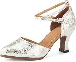 Miyoopark Women's Comfortable Ankle Strap Leather Latin Dance Shoes Evening Pumps
