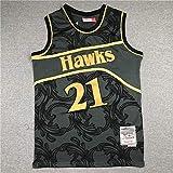 XSJY Retro Hombre Baloncesto Jersey NBA Atlanta Hawks 21# Dominique Wilkins Cómodo/Ligero/Transpirable Bordado Malla Swing Swing Camiseta Sudadera,L:175~180cm/75~85kg
