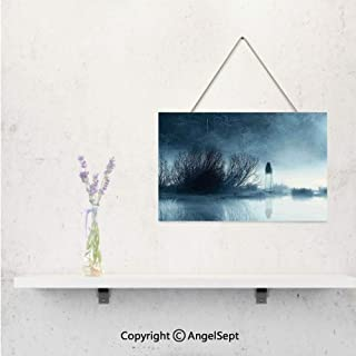 AngelSept Mysterious Women in Foggy Forest Bushes Nightmare Haze Lady Scary Hell Artwork,Wooden Decoration Signs Online,Blue,Home Art Decor Doors and Windows