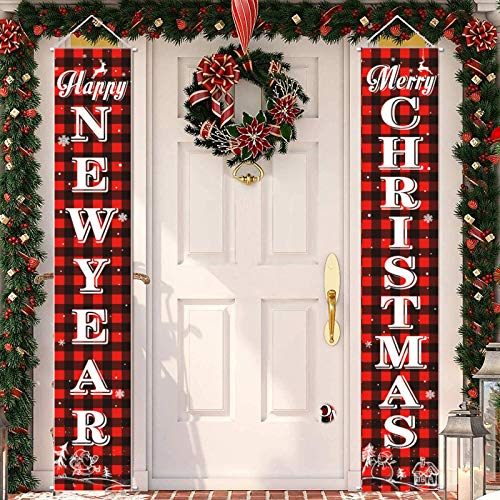Merry Christmas Banner Plaid Christmas Porch Sign Happy New Year Christmas Door Decorations Home Wall Hanging Decor