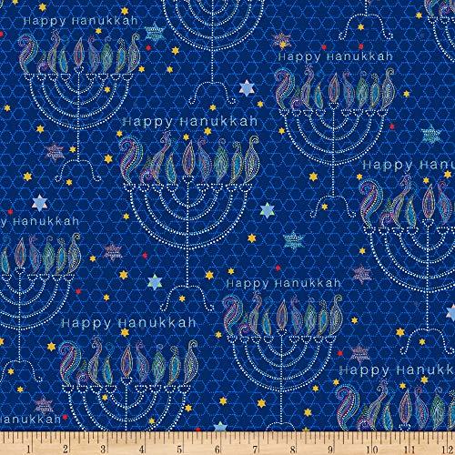 QT Quilt Fabrics Happy Hanukkah Menorahs Navy