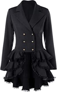 Women's Double Breasted Victorian Steampunk Blazer Coat Jacket with Lace Hem