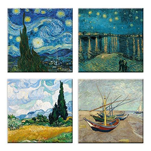 LuxHomeDecor Cuadros Vincent Van Gogh 4 Unidades 30 x 30 cm Impresión sobre Lienzo con Marco de Madera Arte Decorativo