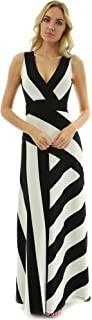 Women Crossover V Neck Striped Maxi Dress