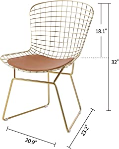 HOMEFUN Modern Dining Gold Wire Side Chair, Guest/Reception Chair (Set of 4), with Seat Cushion
