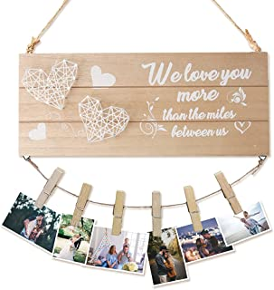 LHIUEM Sweet Heart Couple Love Wooden Picture Frame, Romantic Quote Board Wooden Hanging Photo Frame,Gifts For Girls Boyfr...