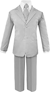 Toddler Boys' 5 Piece Classic Fit No Tail Formal Khaki Dress Suit Set with Tie and Vest