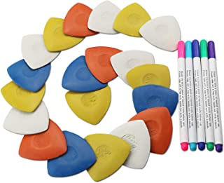 20PCS Triangle Tailor's Fabric Marker Chalk and 5Pcs Washable Pens Set for Sewing Cloth