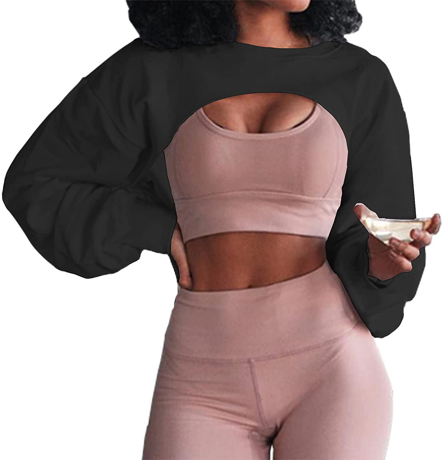 Artfish Women's Crewneck Long Sleeve Crop Tops Workout Gym Casual Cut-out Loose Cropped Sweatshirts