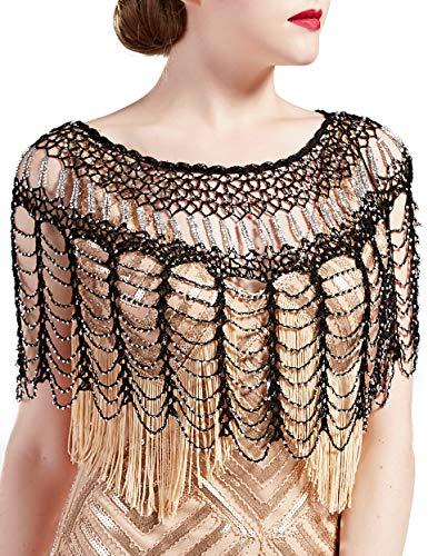 BABEYOND 1920s Shawl Wraps Gatsby Beaded Evening Cape Bridal Shawl Bolero Flapper Cover Up (Black Silver)