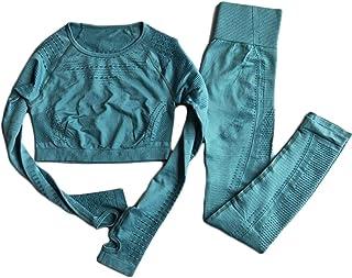 XFKLJ Sports Bra Yoga Pants Women Seamless Yoga Sets High Waist Gym Mesh Leggings Shirts Suit Long Sleeve Fitness Workout ...