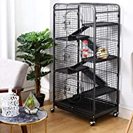 The Fellie Large Rat Cage Rabbit Cages 5 Levels Ferret House with 3 Front Doors, Pet Bowl, Water Bot...
