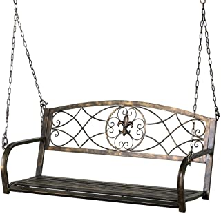 Yaheetech Iron Porch Swing Hanging Bench Chair Patio Bench Outdoor Swing Glider Chair Outdoor Funiture Fleur-De-Lis Design